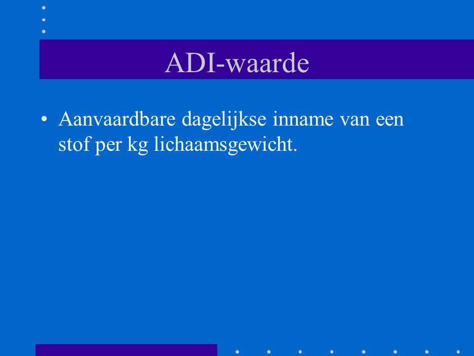 ADI-waarde Aanvaardbare dagelijkse inname van een stof per kg lichaamsgewicht.