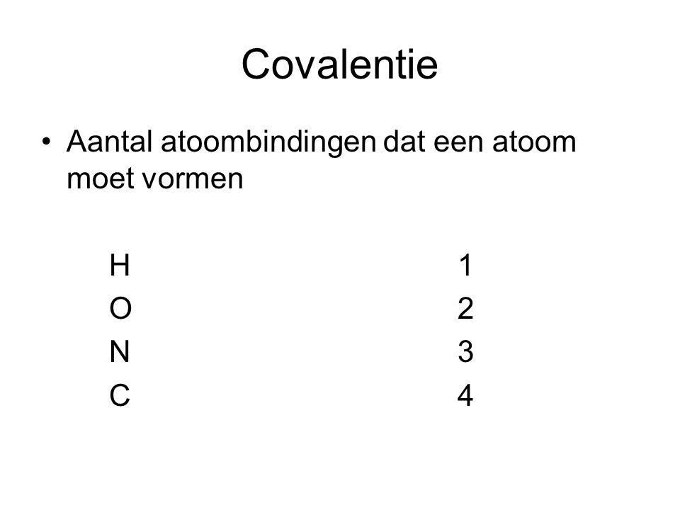 Covalentie Aantal atoombindingen dat een atoom moet vormen H 1 O 2 N 3 C 4