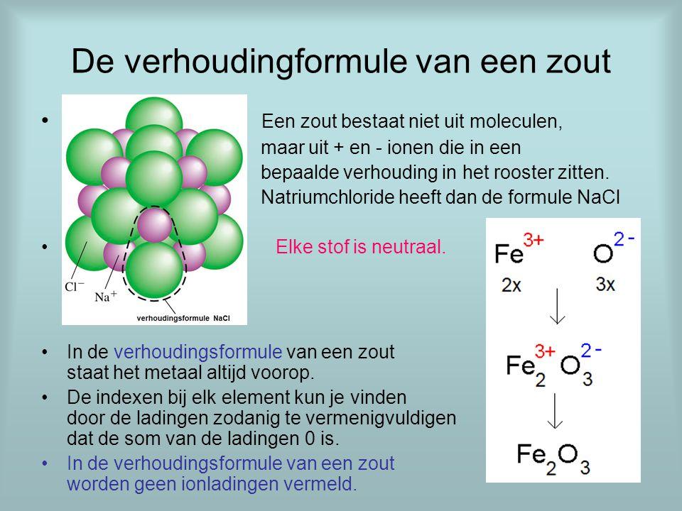 De verhoudingformule van een zout Een zout bestaat niet uit moleculen, maar uit + en - ionen die in een bepaalde verhouding in het rooster zitten. Nat