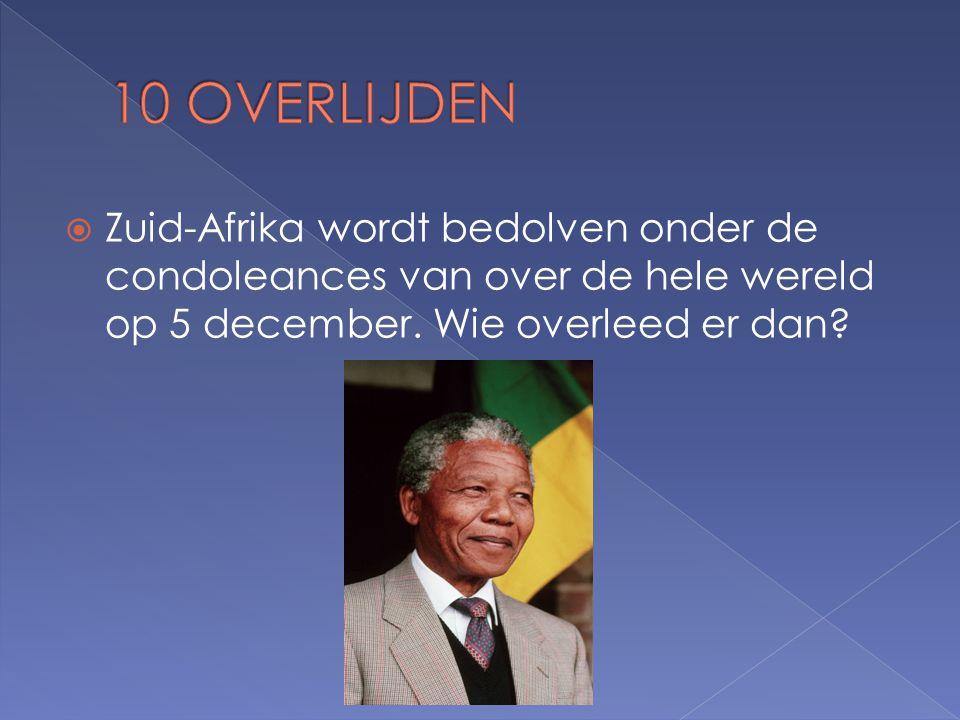  Zuid-Afrika wordt bedolven onder de condoleances van over de hele wereld op 5 december.