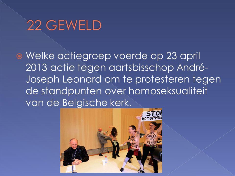  Welke actiegroep voerde op 23 april 2013 actie tegen aartsbisschop André- Joseph Leonard om te protesteren tegen de standpunten over homoseksualiteit van de Belgische kerk.
