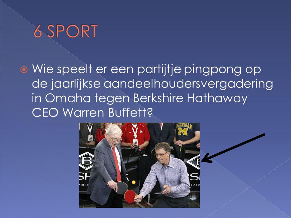  Wie speelt er een partijtje pingpong op de jaarlijkse aandeelhoudersvergadering in Omaha tegen Berkshire Hathaway CEO Warren Buffett