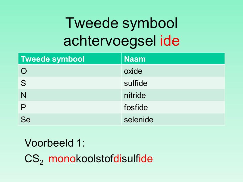 Tweede symbool achtervoegsel ide Tweede symboolNaam Ooxide Ssulfide Nnitride Pfosfide Seselenide Voorbeeld 1: CS 2 monokoolstofdisulfide