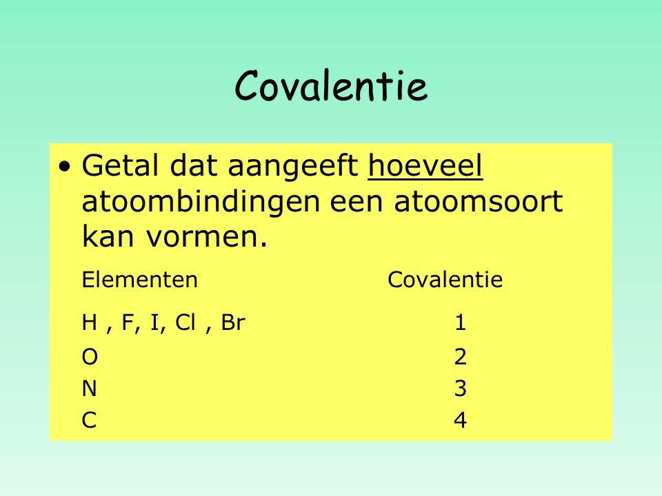 Covalentie Getal dat aangeeft hoeveel atoombindingen een atoomsoort kan vormen. ElementenCovalentie H, F, I, Cl, Br 1 O 2 O 2 N 3 N 3 C 4 C 4