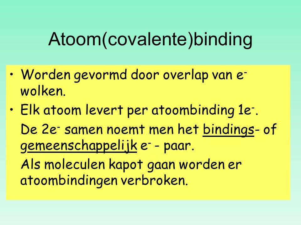 Atoom(covalente)binding Worden gevormd door overlap van e-e- wolken. Elk atoom levert per atoombinding 1e -. De 2e - samen noemt men het bindings- of