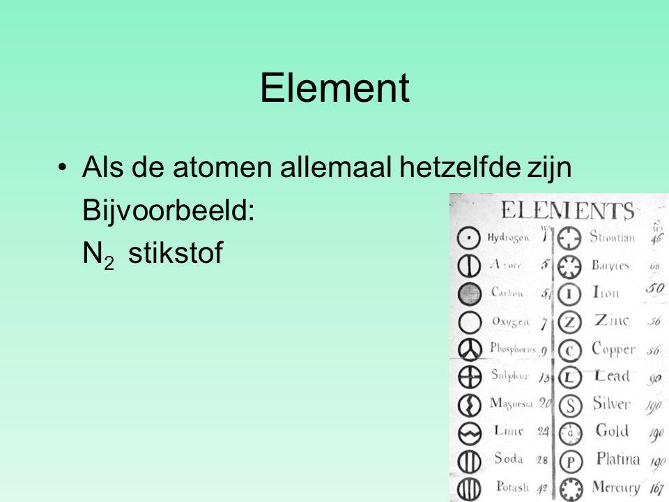 Element Als de atomen allemaal hetzelfde zijn Bijvoorbeeld: N 2 stikstof