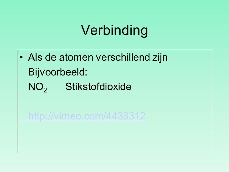 Verbinding Als de atomen verschillend zijn Bijvoorbeeld: NO 2 Stikstofdioxide http://vimeo.com/4433312