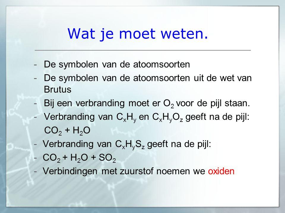 Wat je moet weten. -De symbolen van de atoomsoorten -De symbolen van de atoomsoorten uit de wet van Brutus -Bij een verbranding moet er O 2 voor de pi