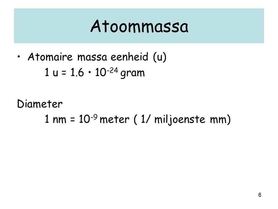 6 Atoommassa Atomaire massa eenheid (u) 1 u = 1.6 10 -24 gram Diameter 1 nm = 10 -9 meter ( 1/ miljoenste mm)