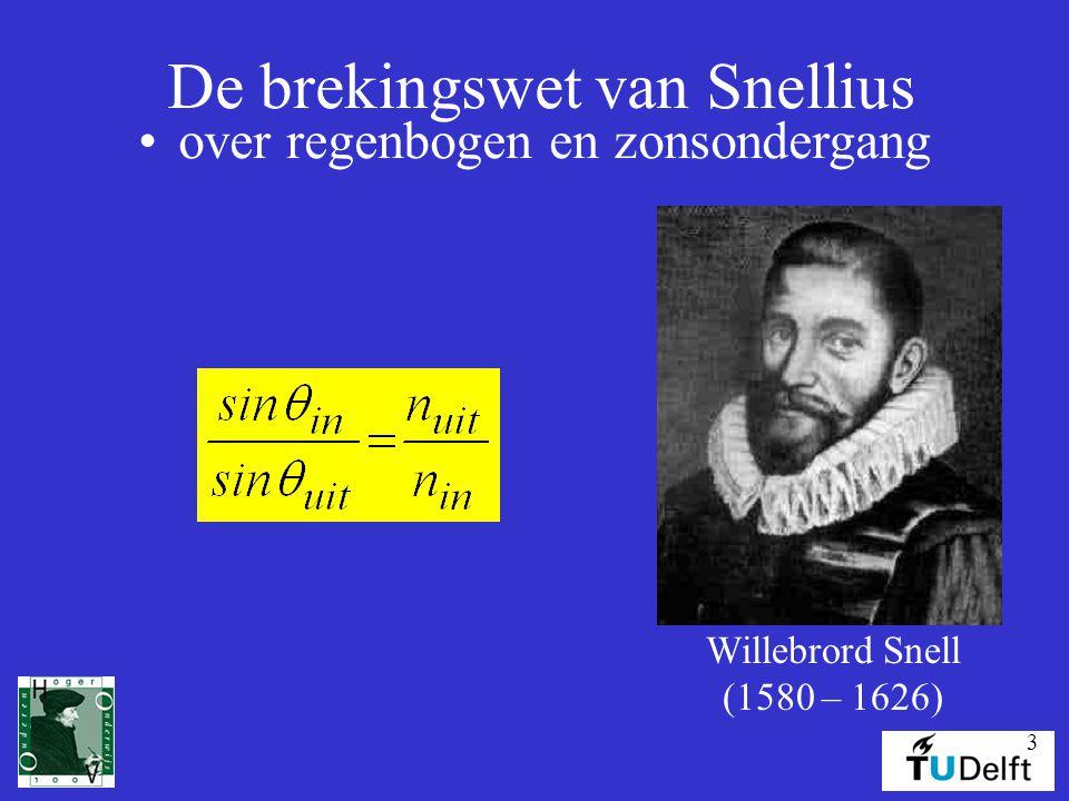 4 Willebrord Snell  geboren 1580 te Leiden, waar zijn vader professor in de wiskunde was  begint aan een studie rechten, maar wisselt naar wiskunde  volgt in 1613 zijn vader op als hoogleraar wiskunde, maar wordt bekend door zijn ontdekking van de brekingswetten van licht (1621) die hij niet publiceert pas in 1703 publiceert Christiaan Huygens het werk van Snellius