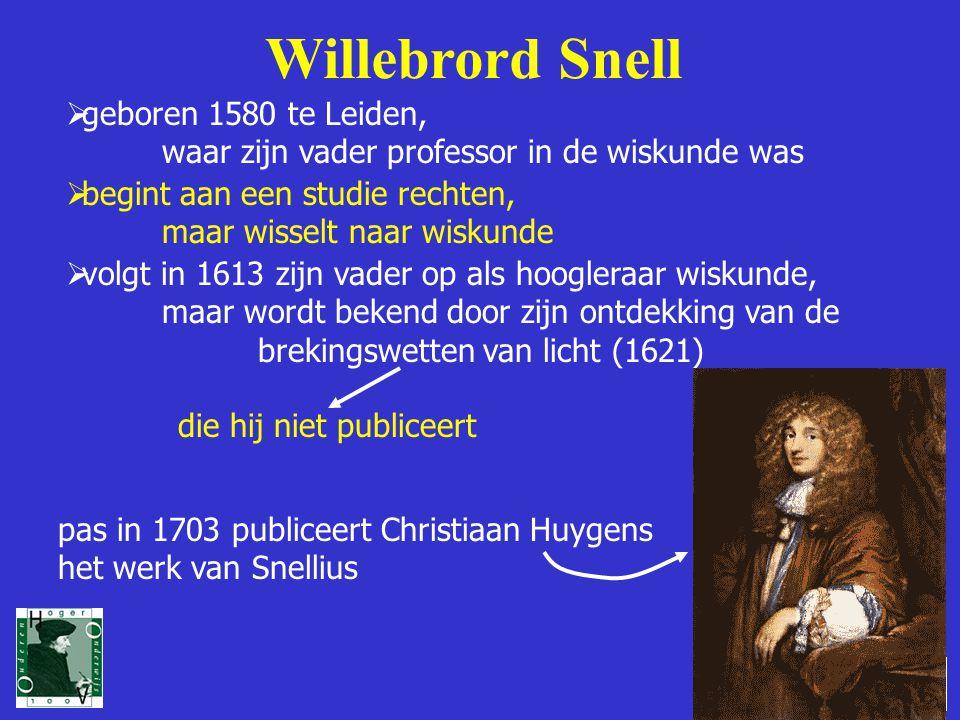 4 Willebrord Snell  geboren 1580 te Leiden, waar zijn vader professor in de wiskunde was  begint aan een studie rechten, maar wisselt naar wiskunde