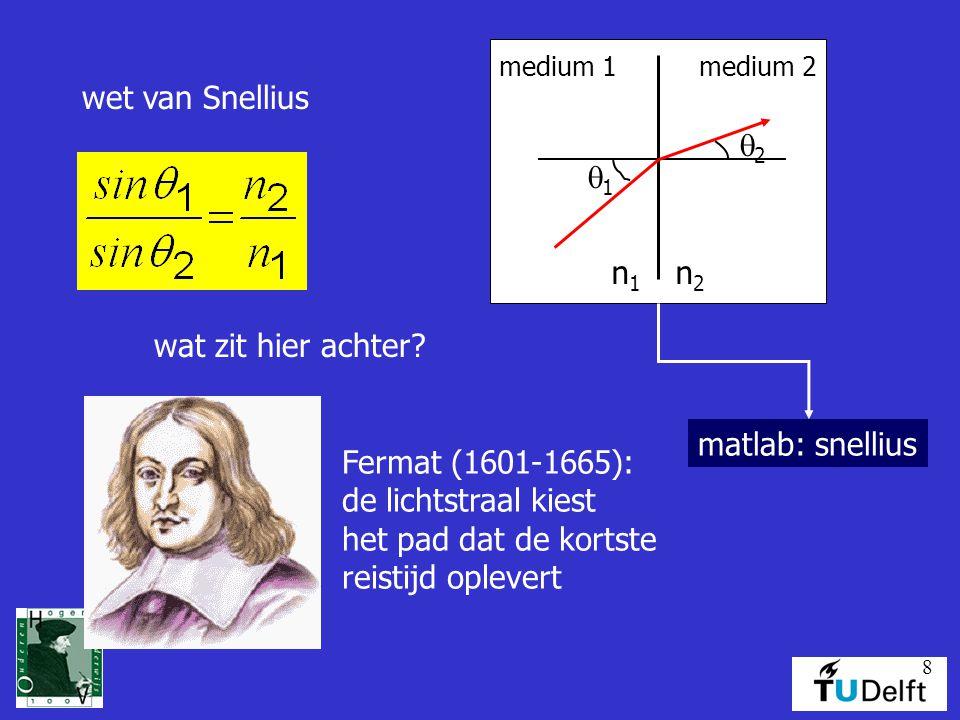 8 wet van Snellius medium 1medium 2 n1n1 n2n2 11 22 wat zit hier achter? matlab: snellius Fermat (1601-1665): de lichtstraal kiest het pad dat de