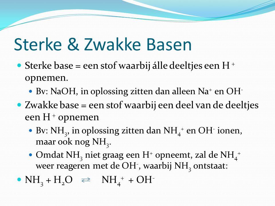 Sterke & Zwakke Basen Sterke base = een stof waarbij álle deeltjes een H + opnemen.