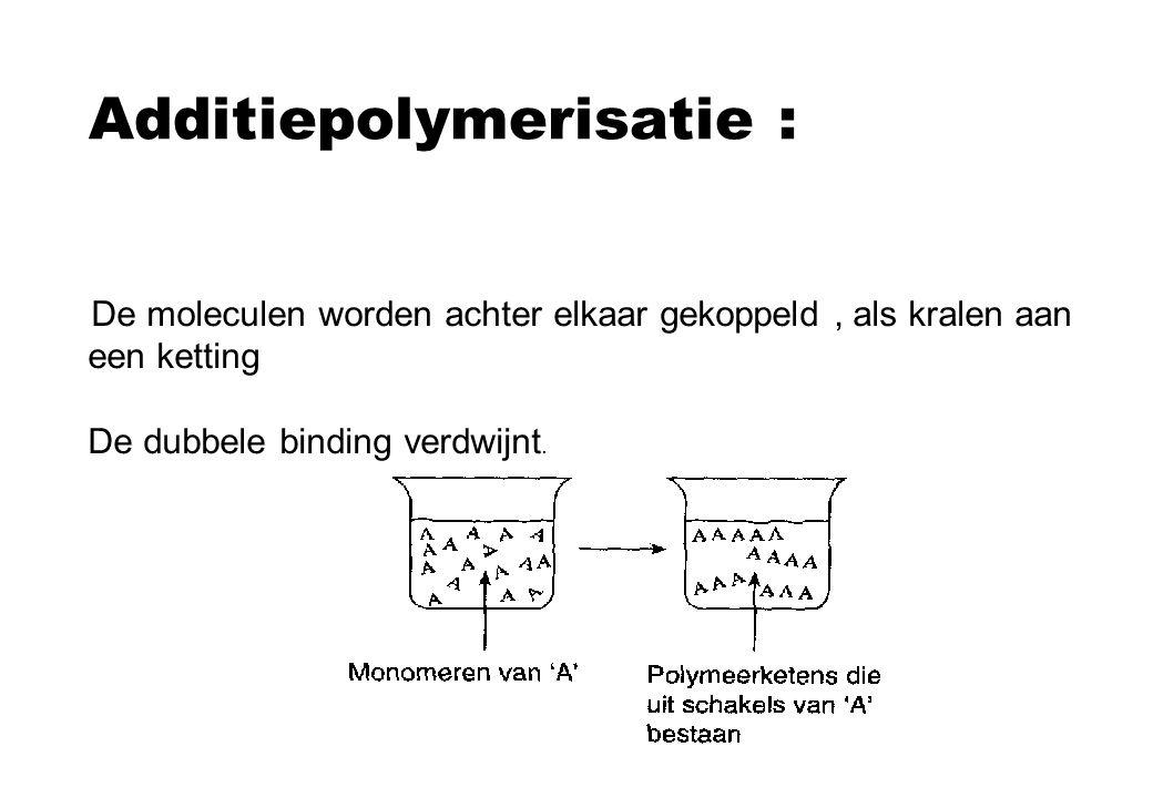 Additiepolymerisatie : De moleculen worden achter elkaar gekoppeld, als kralen aan een ketting De dubbele binding verdwijnt.