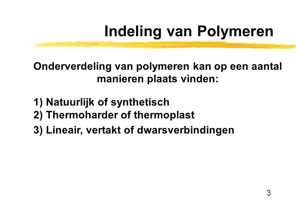 3 Indeling van Polymeren Onderverdeling van polymeren kan op een aantal manieren plaats vinden: 1) Natuurlijk of synthetisch 2) Thermoharder of thermo