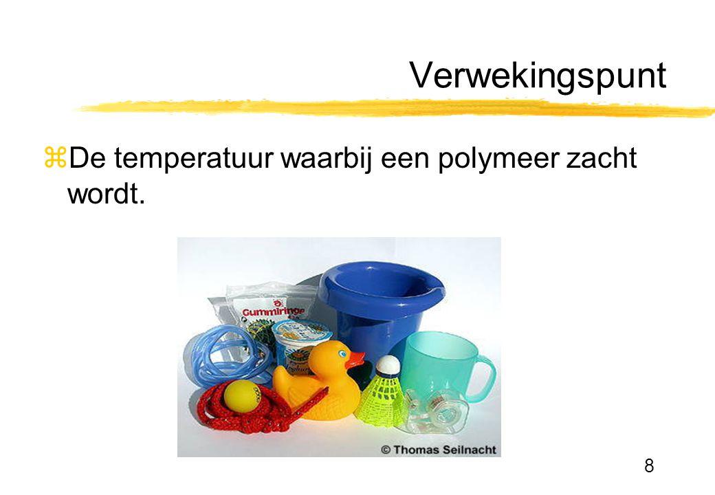 8 Verwekingspunt zDe temperatuur waarbij een polymeer zacht wordt.