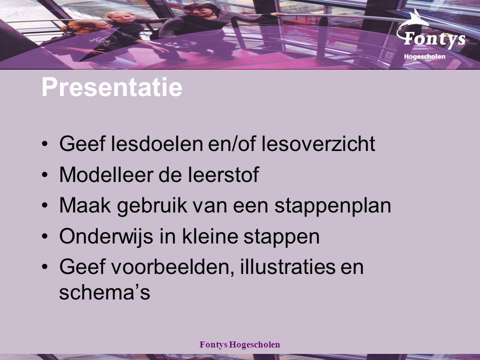 Fontys Hogescholen Presentatie Geef lesdoelen en/of lesoverzicht Modelleer de leerstof Maak gebruik van een stappenplan Onderwijs in kleine stappen Geef voorbeelden, illustraties en schema's