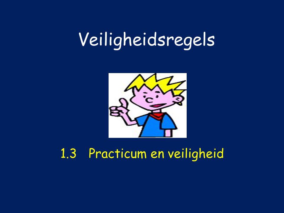 Veiligheidsregels 1.3Practicum en veiligheid