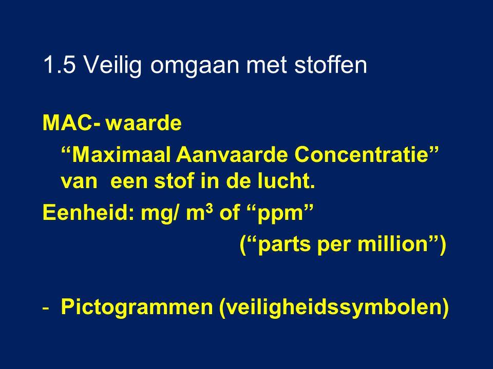 """1.5 Veilig omgaan met stoffen MAC- waarde """"Maximaal Aanvaarde Concentratie"""" van een stof in de lucht. Eenheid:mg/ m 3 of """"ppm"""" (""""parts per million"""") -"""