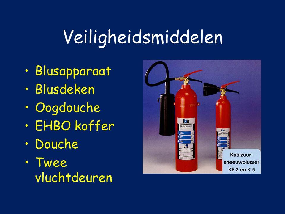 Veiligheidsmiddelen Blusapparaat Blusdeken Oogdouche EHBO koffer Douche Twee vluchtdeuren