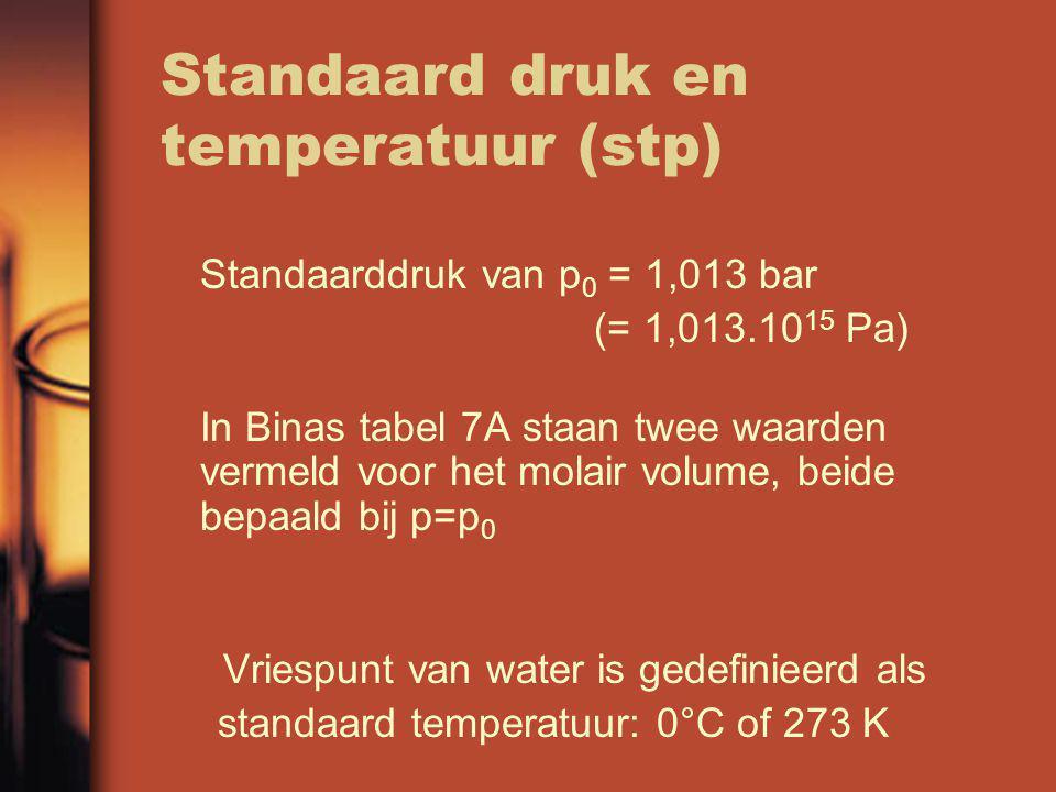 Standaard druk en temperatuur (stp) Standaarddruk van p 0 = 1,013 bar (= 1,013.10 15 Pa) In Binas tabel 7A staan twee waarden vermeld voor het molair