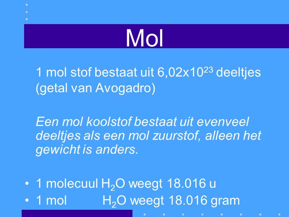 Mol 1 mol stof bestaat uit 6,02x10 23 deeltjes (getal van Avogadro) Een mol koolstof bestaat uit evenveel deeltjes als een mol zuurstof, alleen het ge