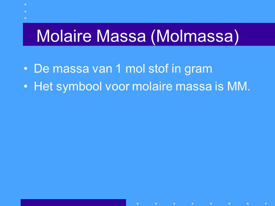 Mol De coëfficiënten in een reactievergelijking geven zowel de verhouding van het aantal moleculen als van het aantal mol aan, waarin stoffen reageren of ontstaan.