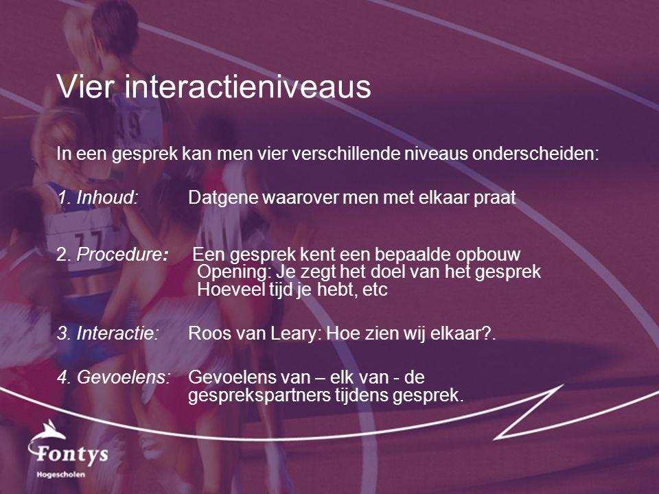 Vier interactieniveaus In een gesprek kan men vier verschillende niveaus onderscheiden: 1. Inhoud:Datgene waarover men met elkaar praat 2. Procedure: