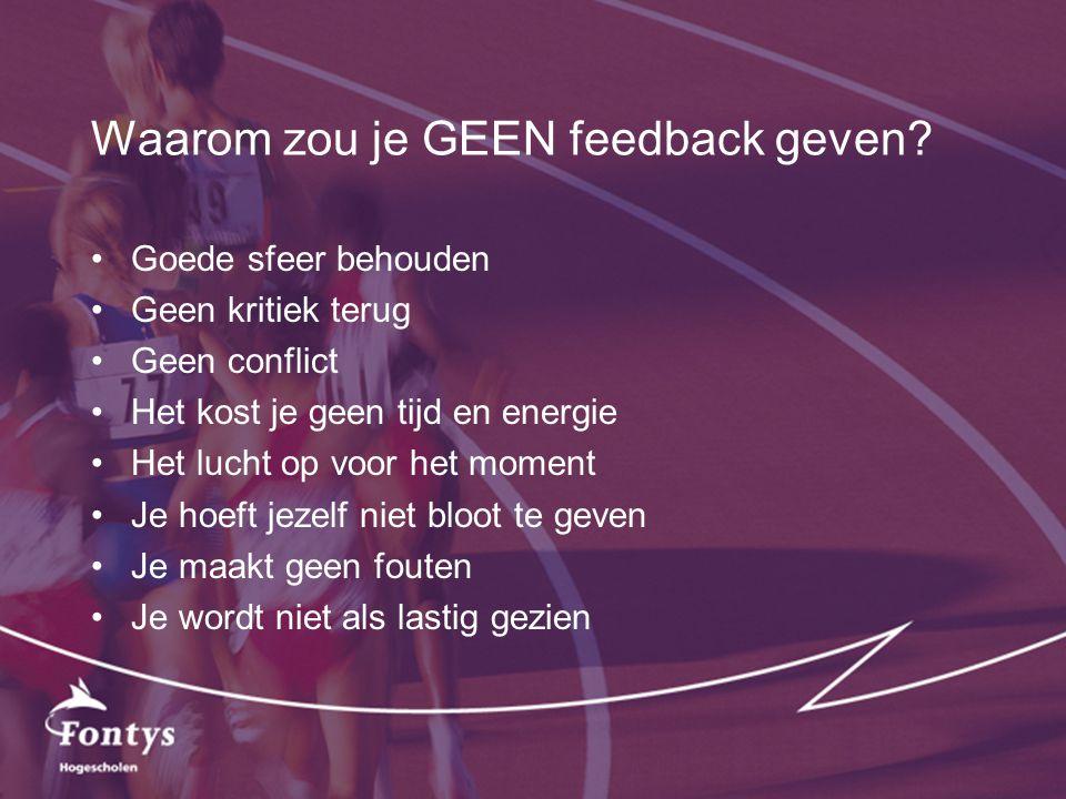 Waarom zou je GEEN feedback geven? Goede sfeer behouden Geen kritiek terug Geen conflict Het kost je geen tijd en energie Het lucht op voor het moment
