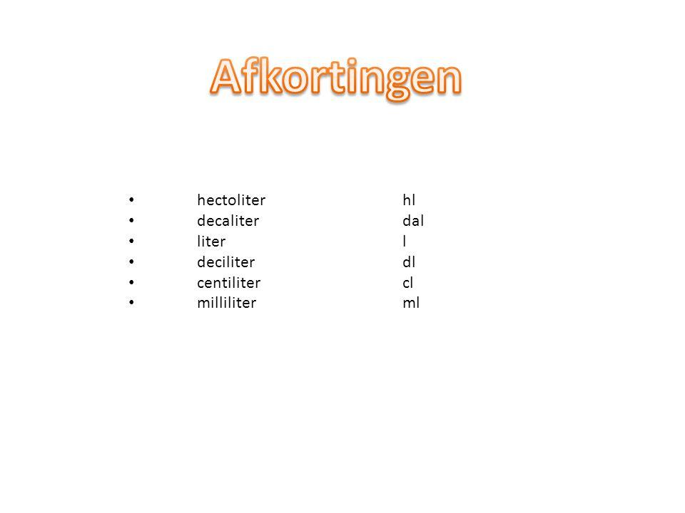 hectoliterhl decaliterdal literl deciliterdl centilitercl milliliterml