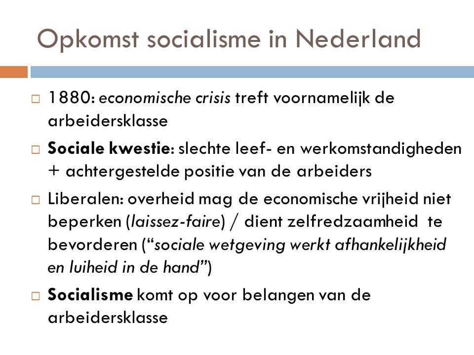 Opkomst socialisme in Nederland  1880: economische crisis treft voornamelijk de arbeidersklasse  Sociale kwestie: slechte leef- en werkomstandighede