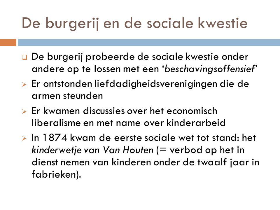 De burgerij en de sociale kwestie  De burgerij probeerde de sociale kwestie onder andere op te lossen met een 'beschavingsoffensief'  Er ontstonden