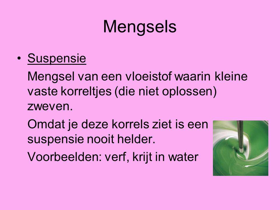 Mengsels Suspensie Mengsel van een vloeistof waarin kleine vaste korreltjes (die niet oplossen) zweven. Omdat je deze korrels ziet is een suspensie no