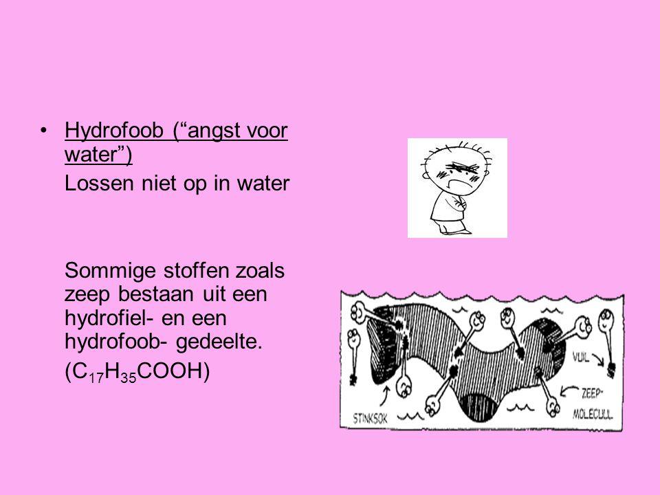 """Hydrofoob (""""angst voor water"""") Lossen niet op in water Sommige stoffen zoals zeep bestaan uit een hydrofiel- en een hydrofoob- gedeelte. (C 17 H 35 CO"""