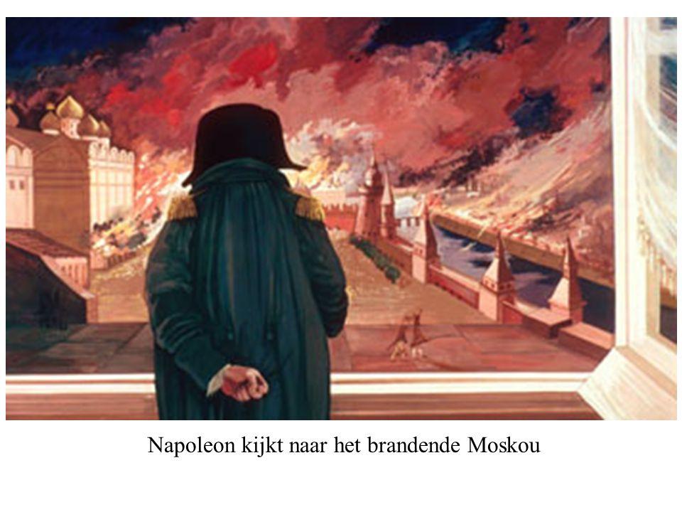 Napoleon kijkt naar het brandende Moskou