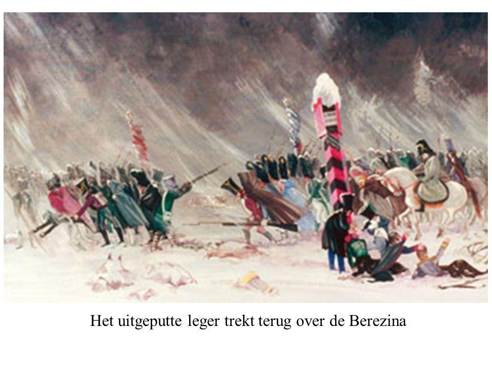 Het uitgeputte leger trekt terug over de Berezina