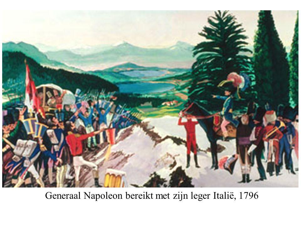 Generaal Napoleon bereikt met zijn leger Italië, 1796