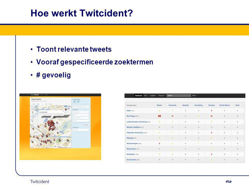 Hoe werkt Twitcident? Toont relevante tweets Vooraf gespecificeerde zoektermen # gevoelig Twitcident