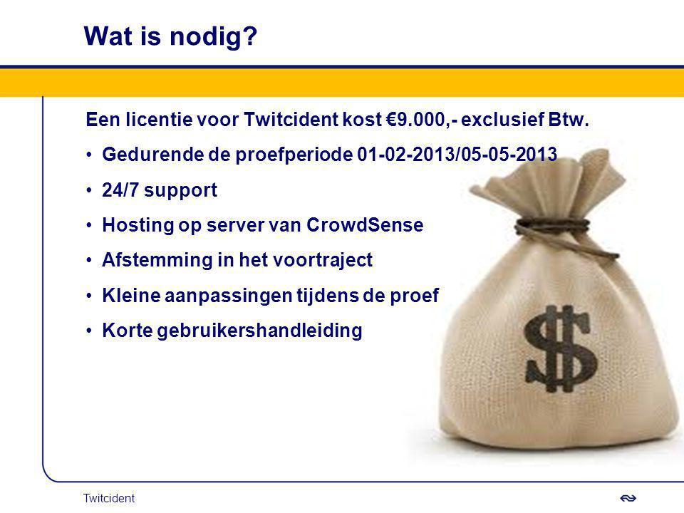 Wat is nodig? Een licentie voor Twitcident kost €9.000,- exclusief Btw. Gedurende de proefperiode 01-02-2013/05-05-2013 24/7 support Hosting op server