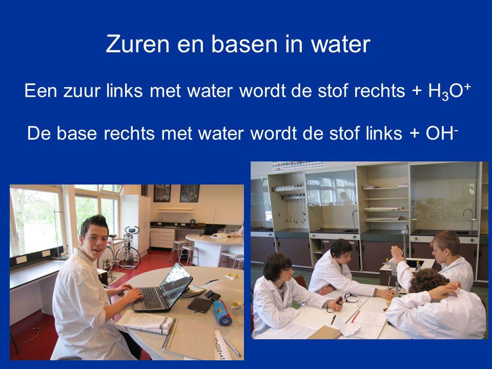 Een zuur links met water wordt de stof rechts + H 3 O + De base rechts met water wordt de stof links + OH - Zuren en basen in water