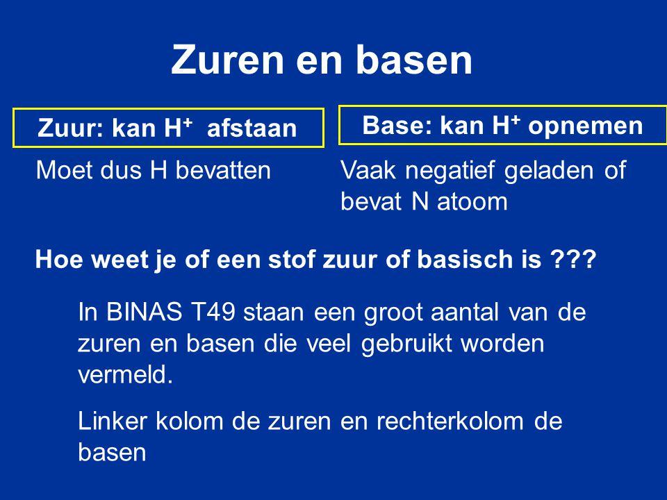 Zuur: kan H + afstaan Base: kan H + opnemen Zuren en basen Hoe weet je of een stof zuur of basisch is ??? In BINAS T49 staan een groot aantal van de z