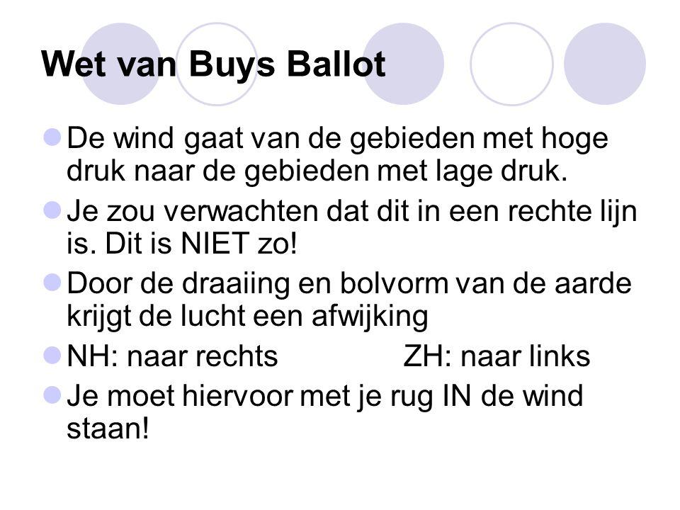 Wet van Buys Ballot De wind gaat van de gebieden met hoge druk naar de gebieden met lage druk. Je zou verwachten dat dit in een rechte lijn is. Dit is