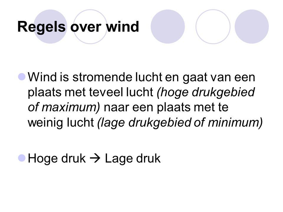 Regels over wind Wind is stromende lucht en gaat van een plaats met teveel lucht (hoge drukgebied of maximum) naar een plaats met te weinig lucht (lag