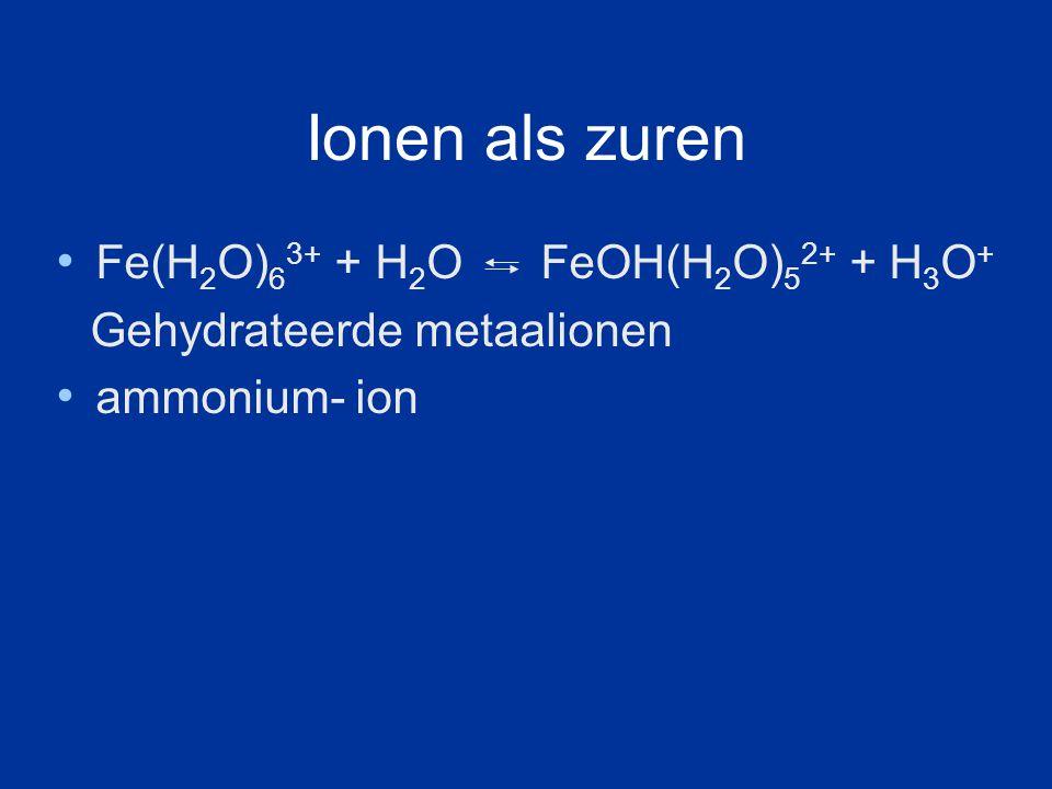 Ionen als zuren Fe(H 2 O) 6 3+ + H 2 O FeOH(H 2 O) 5 2+ + H 3 O + Gehydrateerde metaalionen ammonium- ion