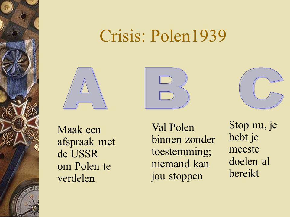 Crisis: Polen1939 Maak een afspraak met de USSR om Polen te verdelen Stop nu, je hebt je meeste doelen al bereikt Val Polen binnen zonder toestemming;