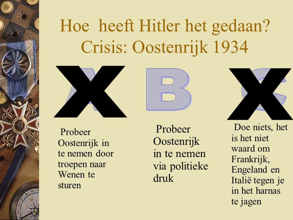 Hoe heeft Hitler het gedaan? Crisis: Oostenrijk 1934 Probeer Oostenrijk in te nemen door troepen naar Wenen te sturen Doe niets, het is het niet waard