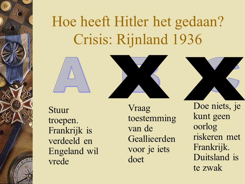 Hoe heeft Hitler het gedaan? Crisis: Rijnland 1936 Stuur troepen. Frankrijk is verdeeld en Engeland wil vrede Doe niets, je kunt geen oorlog riskeren