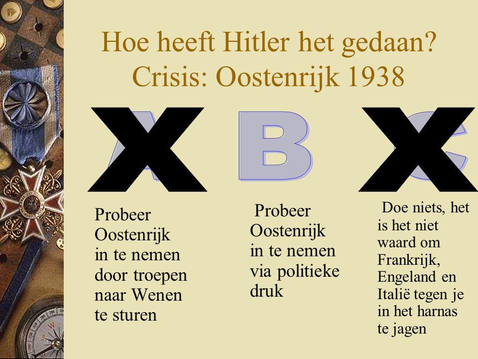 Hoe heeft Hitler het gedaan? Crisis: Oostenrijk 1938 Probeer Oostenrijk in te nemen door troepen naar Wenen te sturen Doe niets, het is het niet waard