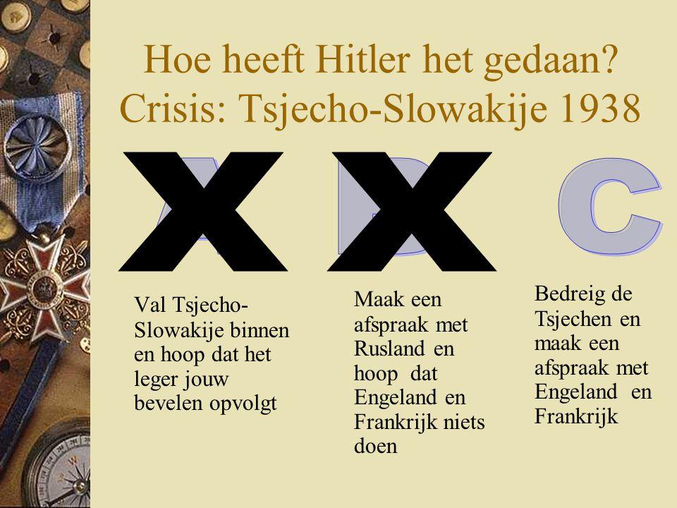 Hoe heeft Hitler het gedaan? Crisis: Tsjecho-Slowakije 1938 Val Tsjecho- Slowakije binnen en hoop dat het leger jouw bevelen opvolgt Bedreig de Tsjech