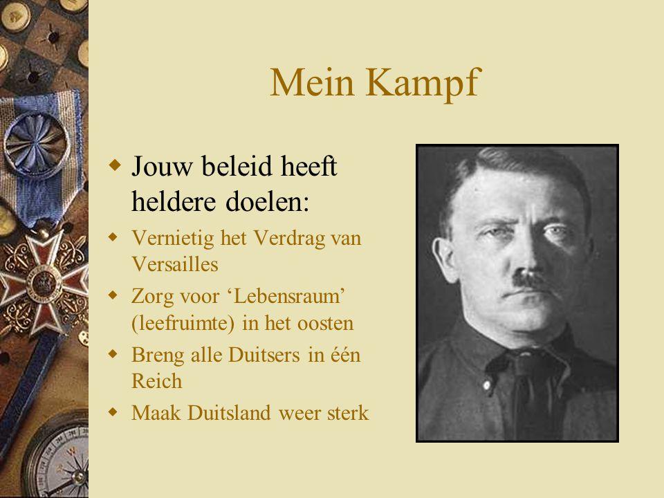 Mein Kampf  Jouw beleid heeft heldere doelen:  Vernietig het Verdrag van Versailles  Zorg voor 'Lebensraum' (leefruimte) in het oosten  Breng alle